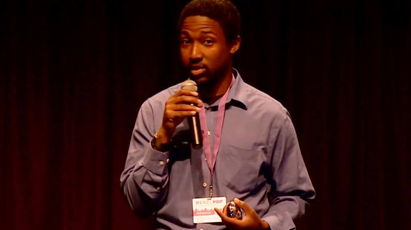 Josh Boykin speaking at PixelPop Festival 2016.